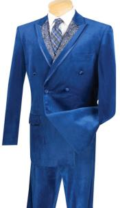 Velvet Navy Double Breasted Suit Regular Fit 2 Piece