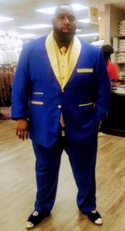 Royal Blue and Gold Lapel + Gold Vest + Black Shirt +