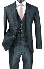 Mens Slim Fit 3 Piece Suit Pine Green Floral Pattern Matching Vest