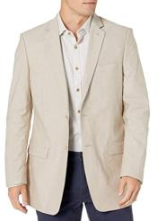 Mens Chambray Sportcoat - Chambray Blazer - Summer Cotton Blazer Tan