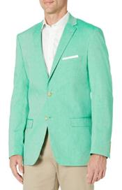 Mens Chambray Sportcoat - Chambray Blazer - Summer Cotton Blazer Green