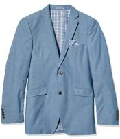 Mens Chambray Sportcoat - Chambray Blazer - Summer Cotton Blazer Blue