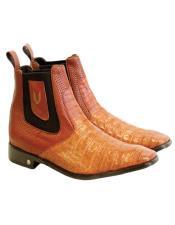 Mens Genuine Caiman Belly Handmade Shoes Cognac