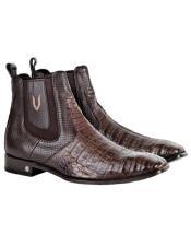 Mens Genuine Caiman Belly Handmade Shoes Brown