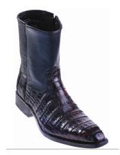 Mens Genuine Caiman Belly Handmade Shoes Black Cherry