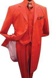 SKU# TE93 Men's Hot Red 3 Piece Fashion Zoot Suit + Shirt + Tie + Vest Package $165