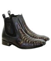 Mens Genuine Caiman Belly Handmade Shoes Black
