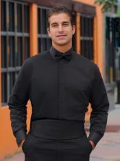 Mens Black Tuxedo Shirt Laydown Collar