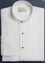 Mens Cotton Pleat Front Mandarin Shirt in White