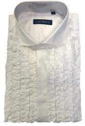 Mens Ruffle Tuxedo Shirt in White