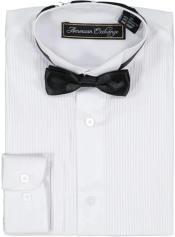 Boys White Tuxedo Shirt and Bowtie Set
