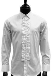 Mens Classic Ruffle Tuxedo Shirt in White