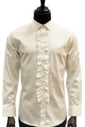 Mens Classic Ruffle Tuxedo Shirt in Ivory