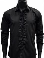 Mens Classic Ruffle Tuxedo Shirt in Black