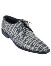 Mens Los Altos Caiman Belly Derby Shoes Rustic Black