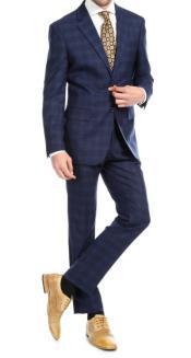 Mens 2pc Premium Wool Slim Fit Suit Navy Blue