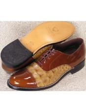 Mens Stacy Baldwin Cap Toe Lace Oxford Shoes Brown and Tan