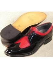 Mens Stacy Baldwin Lizard Wingtip Shoes Black and Red