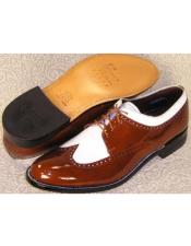 Mens Stacy Baldwin Spectator Shoes Brown and White
