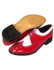 Mens Stacy Baldwin Spectator Shoes Red and White