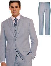 Mens Suit 3 Piece Plaid and Pinstripe Suit Blue ~ Sky