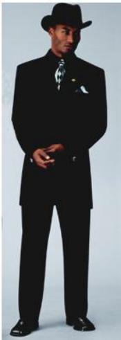 SKU# ER098 Men's Sharp Black Fashion Zoot Suit