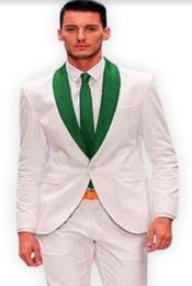 White and Hunter Green Lapel Tuxedo + Free Vest