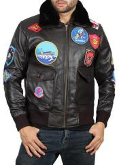 Mens Tom Cruise Suit Bomber Style Top Gun Leather Jacket Dark Brown