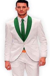 White and Hunter Green Tuxedo + Vest - Olive Green Tuxedo