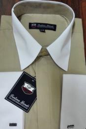 Mens Riley Collar Two Tone Dress Shirt Khaki White