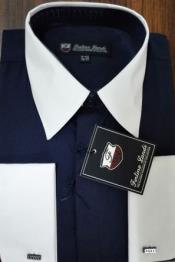 Mens Riley Collar Two Tone Dress Shirt Navy White