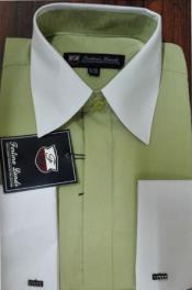 Mens Riley Collar Two Tone Dress Shirt Green White
