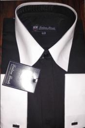 Mens Riley Collar Two Tone Dress Shirt Black White