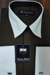 Mens Riley Collar Two Tone Dress Shirt Brown White