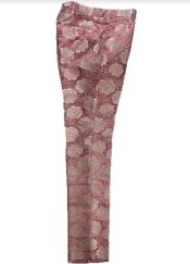 Fancy Pasiely Patterned Flat Front Pants Two Toned Floral Dress Slack