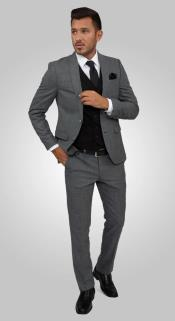 Charcoal Suit Black Vest - 2 Buttons Notch Lapel Side Vent