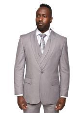Steven Land Suits 3 Piece Wool Suit Walter Classic Fit Light Grey
