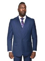 Mens Steven Land Suits 3 Piece Wool Suit Walter Classic Fit Cobalt