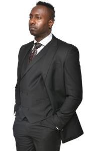 Steven Land Suits 3 Piece Wool Suit Walter Classic Fit Black