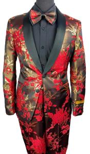 Mens Two Button Floral Prom Tuxedo in Red ~ Gold Suit