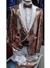 White and Rose Gold Tuxedo - Gold Blazer - Slim Fit Blazer