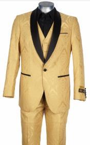 Gold Suit - Gold Tuxedo - Vest + Jacket + Pants By