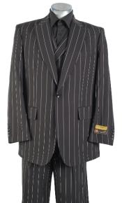 Black Pinstripe Suit - Double Breasted Vested Suit - Pleated Pants -