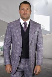 Classic Fit - Pleated Pants - Plaid Pattern - Vested Suit 3