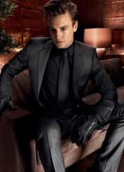 Gray Suit Black Tie