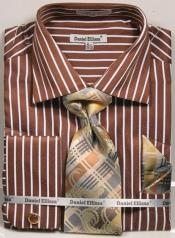Mens Regular Fit French Cuff Shirt Set Bold Stripe Brown