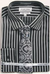 Mens Slim Fit Stripe Shirt with Tie and Handkerchief in Black ~