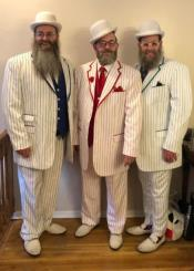 White and Red - Navy Blue - Turquoise Pinstripe Tuxedo - Zoot