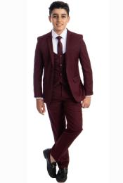 Perry Ellis Boys Suit - Burgundy Kids Suit - Children Suit