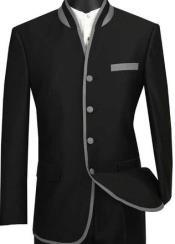 Mens Black Mandarin Collar Suit Slim Fit Black